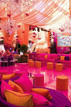 indian wedding tent, bright zingy colour combinations