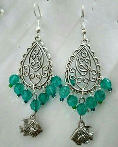 Oxidized chandelier earrings with sea blue acrylic beads