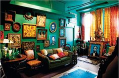 """Hunt Slonem's Lincoln Room:  One of the chairs is from the hotel Abraham Lincoln was taken to after he was shot; walls are """"Albania Teal"""" by Ellen Kennon Full Spectrum Paints."""