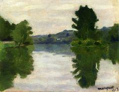 Albert Marquet >> The Marne at the Park Saint-Maur     (Oil, artwork, reproduction, copy, painting).