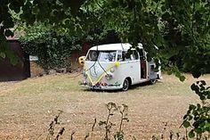 Hire our sparklingly restored split screen wedding camper here. Wedding Vans, Wedding Car Hire, Wedding Company, Vw Campervan Hire, Car Cost, London Bride, Quirky Wedding, White Vans, Retro Cars