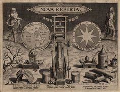 Title Page, Nova Reperta [New Inventions of Modern Times] Vintage Wall Art, Vintage Walls, Renaissance, Nova, Mechanical Clock, Museum, Title Page, Compass Rose, New Inventions