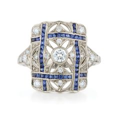Rectangle sapphire and diamond ring from the Kwiat Vintage Collection