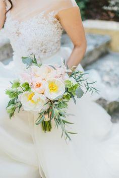 Bouquet of Cream and Blush Peonies   Brides.com