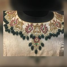 Best 11 Classic neckline Embroidery done on a silver pure brocade fabric ❤️❤️❤️❤️❤️❤️ Kindly ping us on 9884686333 for details and bookings Brocade Blouse Designs, Wedding Saree Blouse Designs, Best Blouse Designs, Pattu Saree Blouse Designs, Designer Blouse Patterns, Blouse Neck Designs, Wedding Blouses, Embroidery Suits Design, Hand Embroidery