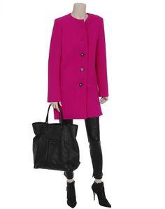 Balenciaga Collarless Virgin Wool Coat in Pink