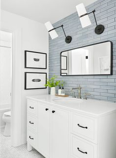 10 of the Most Exciting Bathroom Design Trends for 2019 Emily Henderson bathroom trends 2019 # Bathroom Fixtures, Bathroom Wall, Small Bathroom, Tiled Walls In Bathroom, Gray Bathrooms, Silver Bathroom, White Vanity Bathroom, Modern Bathrooms, Modern Bathroom Decor