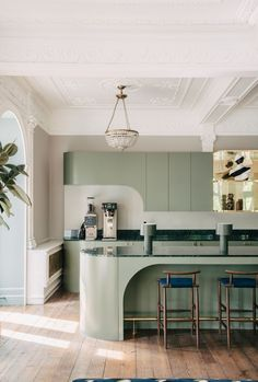 London design studio Sella Concept reimagine a staggering former home for as an inspiring new GovTech focussed co-workspace… - Modern Cocina Art Deco, Art Deco Kitchen, Rustic Kitchen, Kitchen Ideas, Kitchen Inspiration, Kitchen Modern, Kitchen Layout, Minimalistic Kitchen, Minimal Kitchen