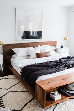 Home Interior Grey love the style of this black white and wood bedroom.Home Interior Grey love the style of this black white and wood bedroom Wood Bedroom, Modern Bedroom, Bedroom Decor, Bedroom Ideas, Bedroom Makeovers, Bedroom Signs, Decorating Bedrooms, Bedroom Curtains, Bedroom Styles