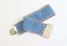 denim blue beaded bracelet seed bead bead jewelry by beadnurse