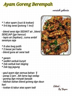 Malaysian Cuisine, Malaysian Food, Food N, Good Food, Food And Drink, Mee Goreng Mamak, Salmon Recipes, Chicken Recipes, Bbq Roast