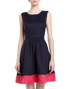 Colorblocked Linen Fit-And-Flare Dress, Navy/Pink