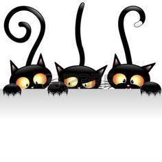 patte de chat: Drôle de chats noirs de bande dessinée avec le panneau blanc Illustration