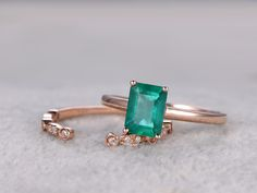 Natural Emerald Engagement Ring Set Diamond Matching Band Rose Gold Open Gap Art Deco Antique Stacking 14K/18K