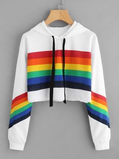 Rainbow Striped Print Crop Hoodie From Runway to Realway, Romwe aims to bring the top fast fashion into your days Girls Fashion Clothes, Teen Fashion Outfits, Girl Fashion, Fast Fashion, Fashion Styles, Clothes Women, Crop Top Hoodie, Cropped Hoodie, White Hoodie