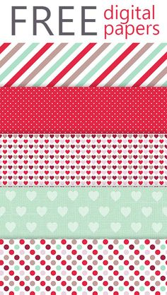 Free Winter Hearts Digital Paper Pack from Lovelytocu.com