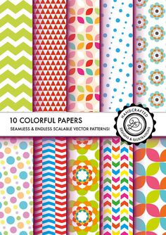 10 Colorful papers, seamless vector patterns for scrapbooking & more