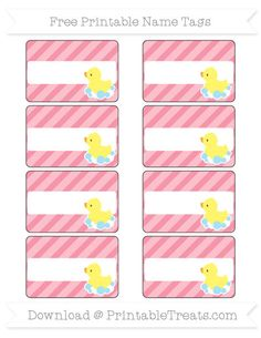Free Pastel Pink Diagonal Striped Baby Duck Name Tags