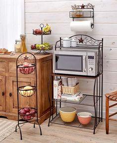3Tier Kitchen Baker's Rack Microwave Oven Stand Storage Cart Adorable Decorative Kitchen Shelves Design Inspiration
