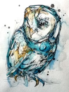 owl animal illustration design sketch painting drawing nature wings beautiful Abby Diamond << would be beautiful as a tattoo Watercolor Paintings Of Animals, Watercolor Bird, Animal Paintings, Tattoo Watercolor, Watercolor Portraits, Art And Illustration, Feather Illustration, Animal Illustrations, Lechuza Tattoo