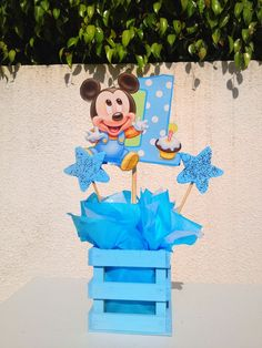 Baby Mickey Mouse Centerpiece for Birthday. Baby Mickey Mouse, Mickey Mouse First Birthday, Mickey Mouse Parties, Mickey Party, Baby 1st Birthday, 1st Birthday Parties, Birthday Ideas, Mickey 1st Birthdays, Mickey Mouse Centerpiece