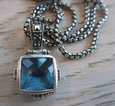 Blue Topaz pendant Blue necklace square pendant by MahsanAmoui