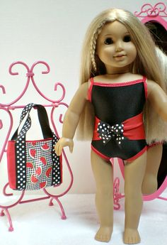 Black and Red Swimsuit & Beach Bag made to fit 18 by dollupmydoll, $15.00