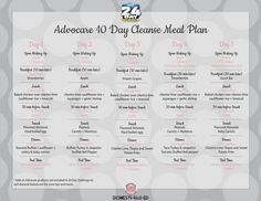 Advocare 10 Day Cleanse Meal Plan: A Meal Plan for the first 10 Days of the 24 Day Challenge