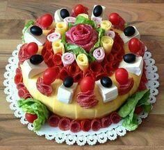 Sweet Home: Beautiful sandwich. Food Cakes, Appetizer Sandwiches, Meat Platter, Sandwich Cake, Food Garnishes, Salty Cake, Food Platters, Food Decoration, Food Humor