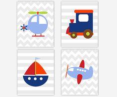 Transportation Baby Boy Nursery Wall Art door DezignerheartDesigns