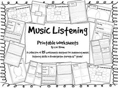 math worksheet : music listening worksheet bundle  worksheets printable  : Music Worksheets For Kindergarten