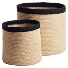 Natural Round Jute Bins-- large one is $24.99. Love for under the entryway table by the front door!