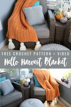 Crochet Chunky Blanket - Free Pattern - MJ's off the Hook Designs Chunky Crochet Blanket Pattern Free, Easy Crochet Stitches, Chunky Blanket, Afghan Crochet Patterns, Baby Knitting Patterns, Crochet Afghans, Crochet 101, Lap Blanket, Beginner Crochet