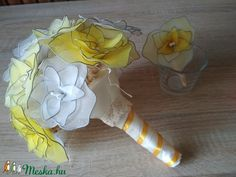 """Sunshine"" wedding bouquet from white and yellow roses. Handmade wedding product from nylon stockings. Nylon Stockings, Alternative Wedding, Handmade Wedding, Yellow Roses, Wedding Bouquets, Princess Zelda, Sunshine, Character, Art"