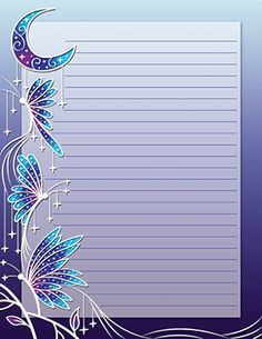 Free printable night time butterfly stationery for x 11 paper. Available in JPG or PDF format and in lined and unlined versions. Printable Lined Paper, Free Printable Stationery, Free Printables, Paper Art, Paper Crafts, Free To Use Images, Notebook Paper, Journal Paper, Stationery Paper