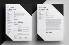 Resume / CV Template - Tanner --- Part of the Best Selling BLACK Collection - Resume/CV - Bailey - - Resume/CV - Blake - - Resume/CV - Brice - - Resume/CV - Elliot - - Resume/CV - Frankie -