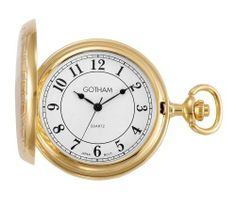 """Gotham Men's Gold-Tone Polished Finish White Dial Covered Quartz Pocket Watch # GWC15442GA Gotham. $34.95. Precision Japanese analog quartz movement. Includes matching 15"""" curb pocket watch chain with spring ring attachment. Rich white dial with classic Arabic numerals and antique style hands. Arrives with deluxe draw string pouch and gift box, operating instructions and lifetime limited warranty card"""