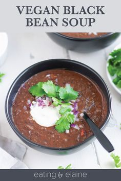 This flavorful and quick Vegan Black Bean Soup is just right for weeknights and comfort food! Make it in less than an hour with a handful of fresh ingredients and an incredible blend of spices and wow everyone who tries it. Black Bean Soup, Black Beans, Easy Healthy Dinners, Vegan Dinners, Nut Free, Eat, Soups, Curry, The Incredibles