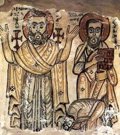 Details of Saints Appllo and Pamun from a century painting in the monastery of Saint Jeremiah at Saqqara, now in the Coptic Museum in Egypt Christian Paintings, Christian Art, Art Through The Ages, Christian Symbols, Byzantine Art, Art Archive, Orthodox Icons, Medieval Art, Ancient Egypt