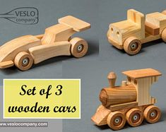 Jeeps and Train Engine   OT-44  unfinished or finished 9 Handcrafted Wood Toy Cars