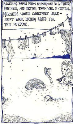 Mermaids & Books art by selenographics