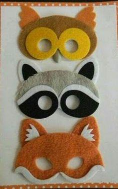 Ideas for masks made of felt Kids Crafts, Felt Crafts, Projects For Kids, Diy For Kids, Diy And Crafts, Sewing Projects, Arts And Crafts, Felt Finger Puppets, Felt Patterns