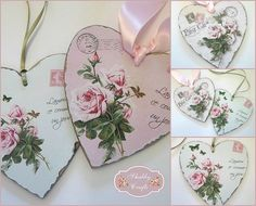 Shabby Chic Home Decor Decoupage Art, Decoupage Vintage, Vintage Crafts, Vintage Valentines, Be My Valentine, Decoration Shabby, Shabby Chic Hearts, Shaby Chic, Christmas Hearts