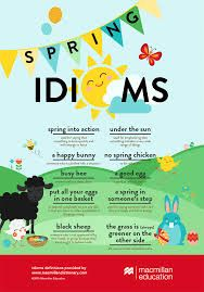 English is FUNtastic: Spring Idioms - Infographic Grammar And Vocabulary, English Vocabulary Words, English Phrases, English Words, English Grammar, Vocabulary Activities, Preschool Worksheets, Preschool Crafts, English Fun