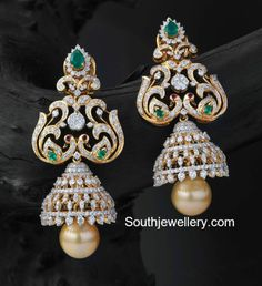 Peacock Diamond Jhumkas photo
