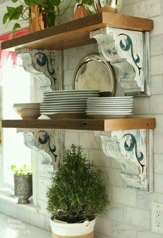 I like the corbels for the shelves...the way they are painted, too.