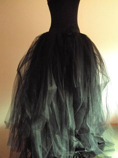 Black Tulle Skirt Halloween Goth Steampunk Witch size 4 - 10 U.S. 6 - 12 U.K.. $175.00, via Etsy.