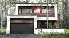 A Modern House Style It has 3 Bedrooms. This villa designed by Legue Architecture House description: Area 1625 ft² Bedroom 3 Bathroom 2 Front 36 ft D Ultra Modern Homes, Small Modern Home, Modern Style Homes, Trendy Home, Modern Loft, Modern Garage, Modern House Plans, Modern Exterior, Modern House Design