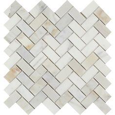 1 x 2 Polished Calacatta Gold Marble Herringbone Mosaic Tile Sample
