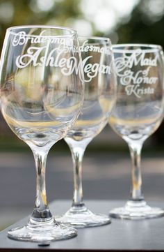 Set of 3 Bridesmaid Glasses and Optional Maid of Honor by EVerre